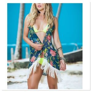 Blue Floral Fringe-Trim Cover-Up